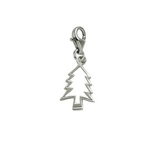14k Gold Christmas Tree Charm - 14k White Gold Christmas Tree Charm With Lobster Claw Clasp, Charms for Bracelets and Necklaces