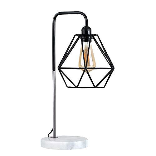 MiniSun - Lámpara de mesa moderna Talismán - Con innovadora pantalla de diseño de jaula, base de mármol y sabor vintage