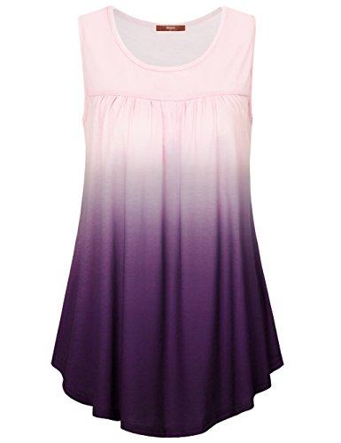 Ombre Scoop (Gaharu Tank Tops For Women, Juniors Sleeveless Tunic Scoop Neck Pleats Ombre Printed Flare Hem Summer Layering Work Shirts Violet,Medium)