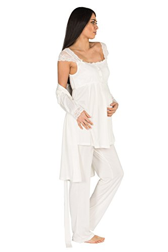New York Baby Gown - Bondy Women's 3 Piece Maternity and Nursing Pajama Set with Pretty Lace Details Featuring Nursing Top Pants and Robe with Belt (Large, Ivory)