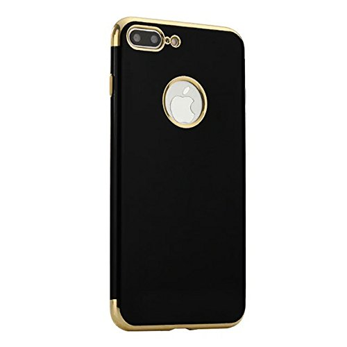 Price comparison product image Iphone 7 Plus Case by FEDOLI  A Luxury Black Silicone Case with Chrome Gold Plating for Stylish Person  Premium Quality Product (Chrome Gold)