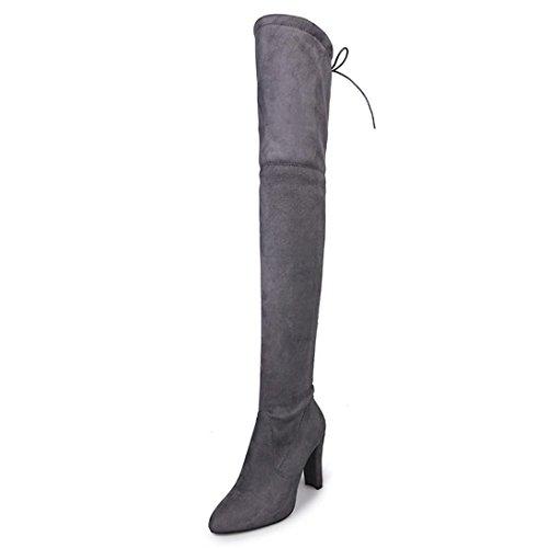 Ama (tm) Femmes Stretch Fausses Bottes Hautes Sur Les Genoux Bottes Talons Hauts Chaussures Gris