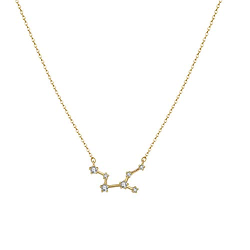 Citled Women's Zodiac Necklace, 14K Gold Plated Astrology Constellation Horoscope Zodiac Necklace Delicate Rhinestone Sign Elegant CZ Necklace for Women (Virgo (Aug 23-Sep 22))