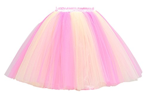 [PerfectDay Women's Mini Tutu Ballet Multi-layer Ruffle Frilly Petticoat Skirt Coral Pink] (Fat Lady Halloween Costumes)