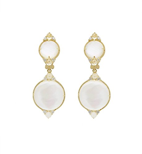 JUDTH RIPKA ALLURE ROCK CRYSTAL QUARTZ DOUBLE DROP EARRINGS