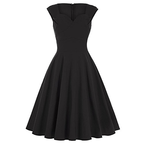 Rockabilly 50s 60s Retro Vestidos Sleeveless Red Green Women Dresses at Amazon Womens Clothing store: