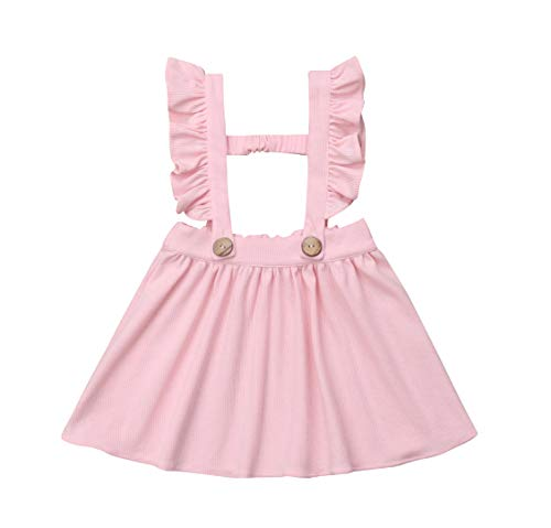 doublebabyjoy Baby Girl One Piece Ruffles Suspender Skirt Overalls Infant Toddler Solid Color Sleeveless Backless Dress Outfit 0-5T (Pink, 9-18Months)