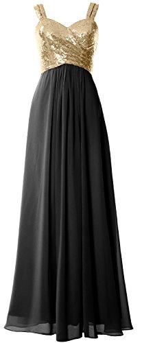 Macloth Femmes Bretelles Sequin À Long Capot Robe De Demoiselle D'honneur Retour Mariage Lumière Robe Formelle Or Noir