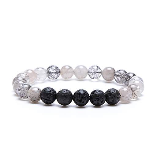 Bivei Lava Rock Stone Essential Oil Diffuser Bracelet - Natural Semi Precious Gemstone Beads Healing Crystal Bracelet(Black Tourmalated Quartz)