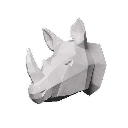 YJ Home Rhino Head Wall Sculpture - White Rhinoceros Head Wall Decor (Large, White ()