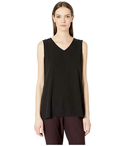 Eileen Fisher Black Silk Georgette Crepe V-Neck Long Shell