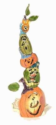 The Clayworks Blue Sky Halloween Collection Tower of Pumpkins - 2003