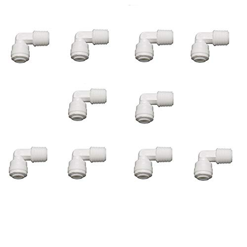 Filter Fittings (Lemoy 1/4 inch Male Thread to 1/4 inch Tube Elbow Quick Connect Ro Reverse Osmosis water Filter Fitting Male Elbow Pack of 10)
