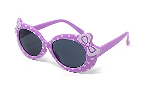 4 x Purple Coloured Childrens Kids Girls Stylish Cute Designer Style Sunglasses with a Bow and heart Style UV400 Sunglasses Shades UVA UVB Protection