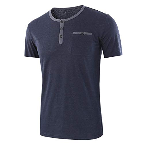 YKARITIANNA Fashion Men's Baggy Solid Short Sleeve Button