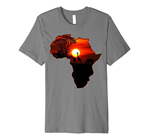 Mens Africa T Shirt Map of Africa South African Big Five Safari 2XL Slate (T-shirt Map Africa)