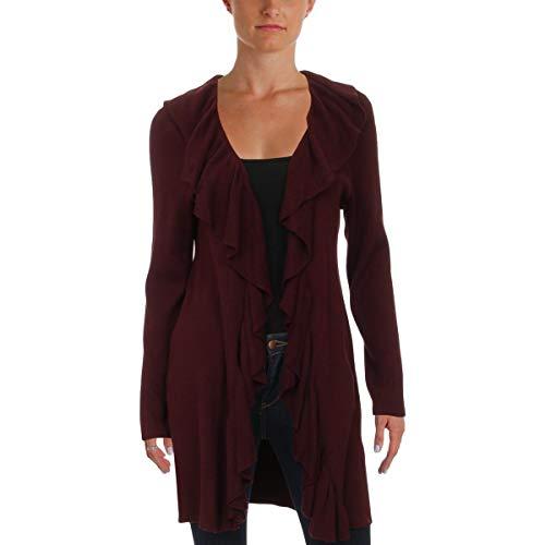 Cashmere Lauren Cardigan - LAUREN RALPH LAUREN Womens Cascade Ruffle Ribbed Cardigan Sweater Purple M