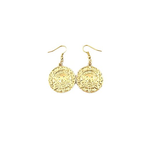 Athena Brand Movie Pirates of the Caribbean Gold Doubloon Dangle Earrings In Gift Box