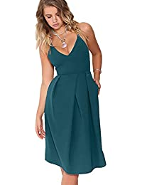 3fb1f595 Women's Deep V Neck Adjustable Spaghetti Straps Summer Dress Sleeveless  Sexy Backless Party Dresses with Pocket