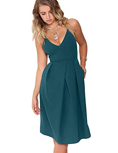 - Eliacher Women's Deep V Neck Adjustable Spaghetti Straps Summer Dress Sleeveless Sexy Backless Party Dresses with Pocket (L, Teal)