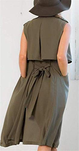 Cintura Autunno Cashmere Cardigan Cappotto Moda Betrothales Inclusa Verde Giovanegiovane Bavero Casual Lunga Donna Smanicato Outerwear Elegante Giacca Larghezza 5ALqS3Rjc4