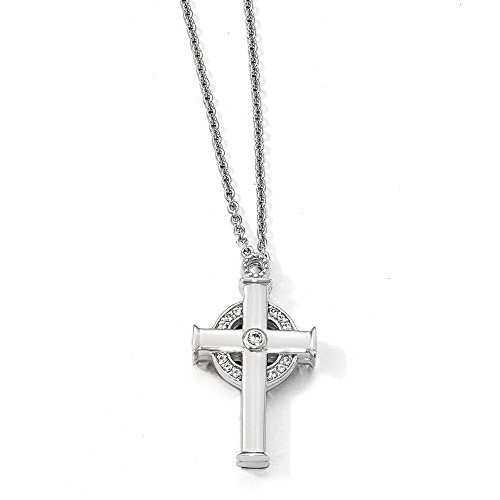 Cross Sapphire Celtic - Sterling Silver Created W. Sapphire Magnet Celtic Cross 20 in Necklace