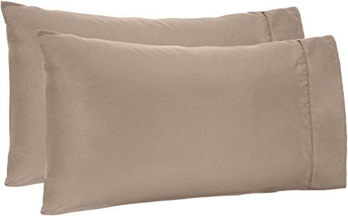 AmazonBasics Microfiber Pillowcases - 2-Pack, Standard, Taupe