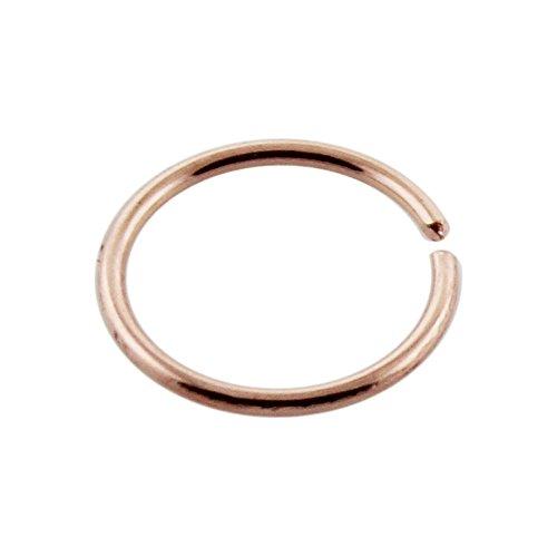 14 Karat Solid Rose Gold 20 Gauge ( 0.8MM ) - 5/16 Inch ( 8MM ) Length Open Hoop Nose Ring