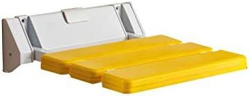 バスルームシャワーバスシートウォークウェイチェアお手入れが簡単で便利な90°折りたたみ式、スペース節約型壁掛け式シャワーシート、バスルームシャワースツール(高齢者向け) (Color : 黄)