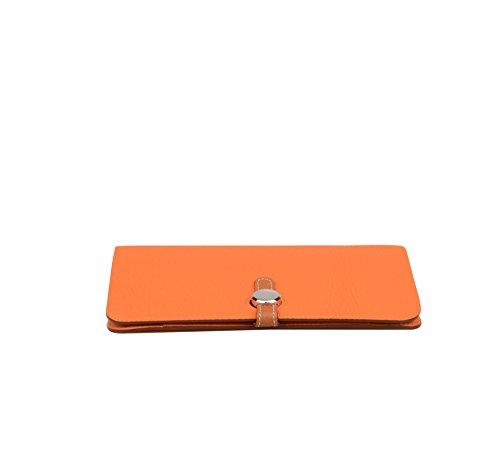 Anifeel Case Purse Orange Women's Multicoloured Leather Billfold Trifold Wallets Passport Genuine gwgrfS