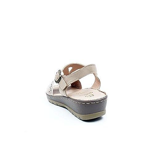 Color Beige La De En Sandalia Cómoda Polipiel Mujer Grabada Marca nwPk08OX