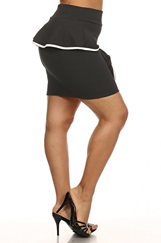 402e1b4f17a Solid Color Mini Peplum Skirt - Rust - Plus Size - 1X - 2X (2X) at Amazon  Women s Clothing store