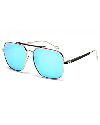 Konalla Vintage Square Flash Mirror UV Protection Unisex Sunglasses - Sunglasses 1940s Style