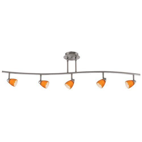 Cal Lighting SL-954-5-BK/WSW Track Lighting with Whey-faced Glass Shades, Black Finish