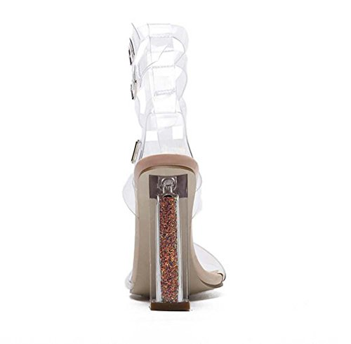 Hollow apricot Belt Size Fashion Transparent Toe Strap 40 Buckle Transparent Sandals Dress Ankel Crystal Eu 34 Chunkly Open Lady Shos Heels Tw8xRX7zq