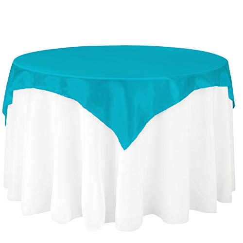 (LinenTablecloth 72-Inch Square Satin Overlay Turquoise )