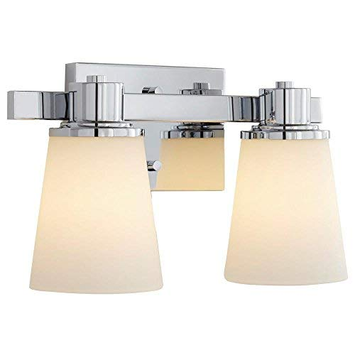 Home Decorators Collection 2-Light Chrome Bath Vanity Light with Bell Shape Etched White ()