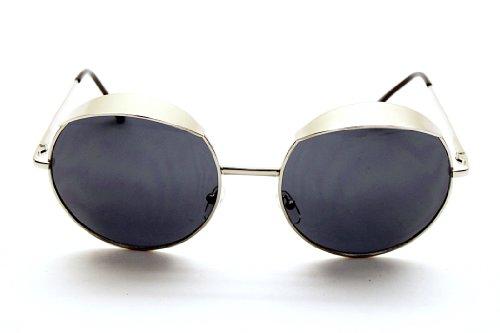 V147 Round Circle Vintage Retro Eyelid Metal Party Sunglasses (silver, uv400)
