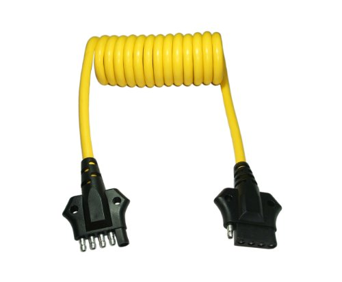 31pjMeexkKL amazon com conntek 4 5 way flat coiled extension cord, 4 feet Standard Trailer Wiring at reclaimingppi.co