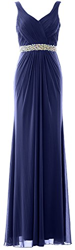 MACloth V Dunkelmarine Straps Long Prom Sheath Evening Gown Dress Women Neck Wedding Formal rYHSfar