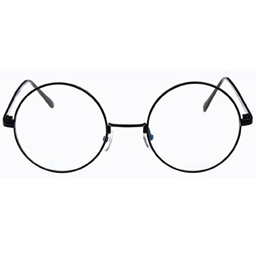 D.King Oversized Vintage Round Retro Large Metal Frame Clear Lens Eyeglasses Black