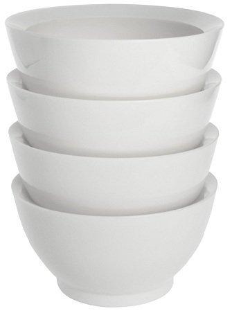 Calibowl LaJolla Stack Plastic Soup/Cereal Bowls, White, Set of 4