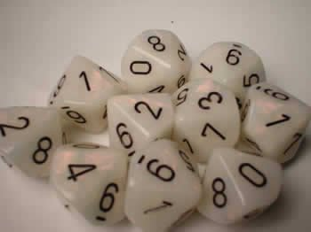 - Chessex Dice Sets: Mother of Pearl White with Black - Ten Sided Die d10 Set (10)
