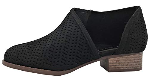 Image of Womens Ankle Bootie D'Orsay Cut Out Perforated Open Side Closed Toe, Black, 9