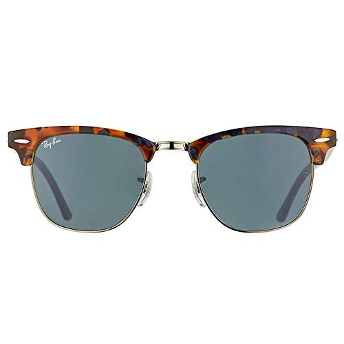 Ray-Ban RB3016 Clubmaster Unisex Sunglasses (Spotted Blue Havana Frame/Grey Lens 1158R5, ()