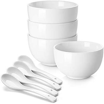 DOWAN Porcelain Bowls, 30 Oz Porcelain Bowl for Cereal, Soup, Ramen, Rice Bowls, Bowl Set of 4, with 4 Spoons, White