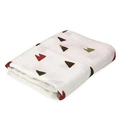 Oliver & Rain Baby Swaddle Blanket - Newborn 100% Organic Cotton Ivory Mountain Print Muslin Swaddle Blanket