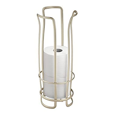 mDesign Free Standing Toilet Paper Roll Holder for Bathroom Storage - Pearl Champagne