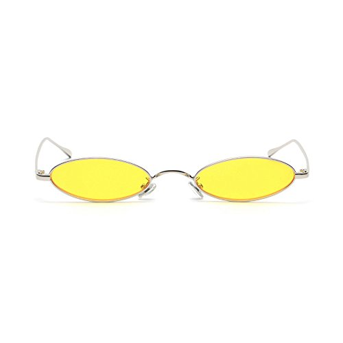 MINCL/Fashion Small Oval Metal Frame Chic Clear Candy Color Lens Sunglasses - Color Candy Lenses