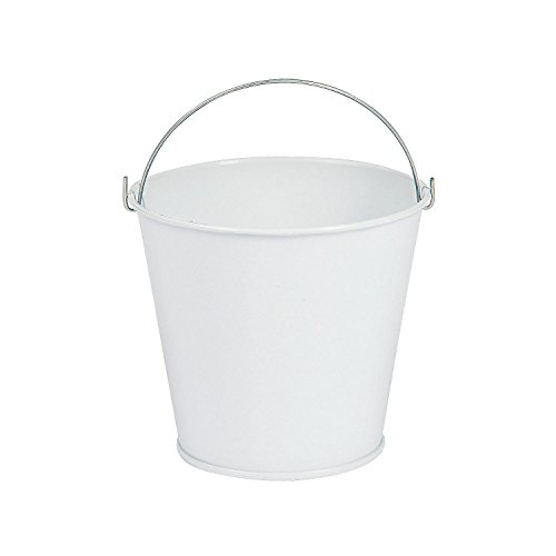 Fun Express White Tinplate Pail W/Handle (1 Dozen) - Bulk -